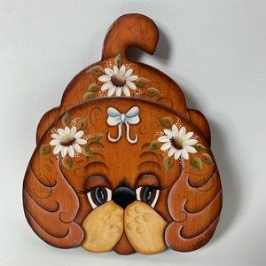 Vintage Handpainted Wooden Dog with Flowers Plaque